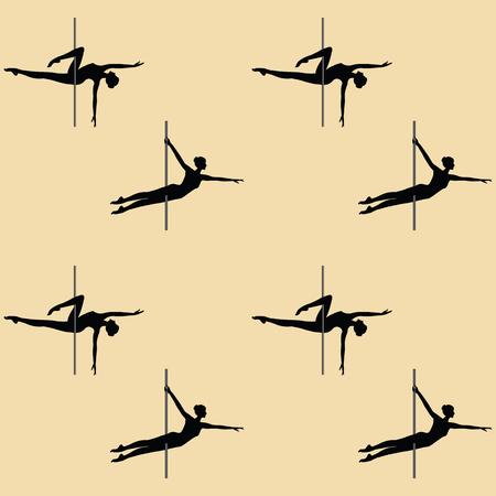 aerobics class: Pattern sport - acrobatic dance with a pole - art creative modern vector