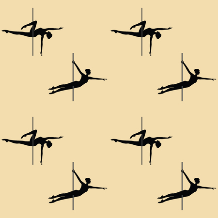 Pattern sport - acrobatic dance with a pole - art creative modern vector