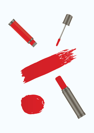 Set - lipstick tube, liquid lipstick, watercolor brush stroke in grunge style - red color on white background - isolated - art creative modern abstract vector Illustration