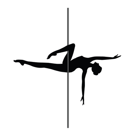Sketch aerobics pole - woman - isolated on white background - art creative illustration vector