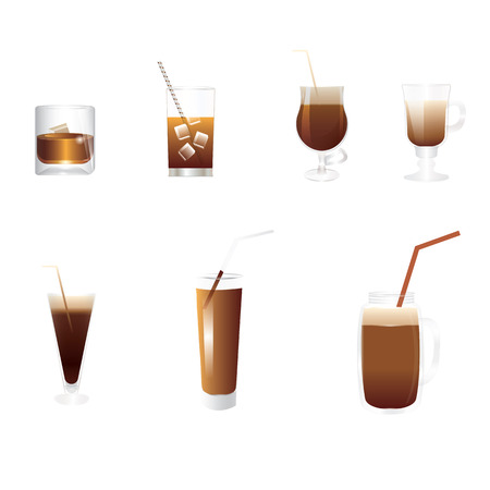 Set of seven drinks of brown tones - in transparent glasses of different shapes - cognac, cocktail, smoothies, coffee liqueur, - isolated on white background - art creative modern vector