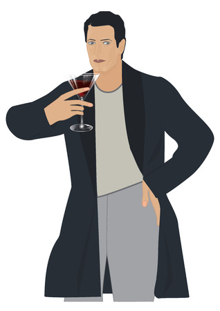 Man, elegant, serious, solid, modern - holds a glass of red wine - isolated on white background - art creative modern illustration, vector. Illustration