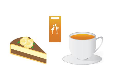 porcion de torta: Pastel de chocolate con crema rosa - té par, -logo - té para los amantes, - aislados en fondo blanco - arte creativo vector moderno Vectores