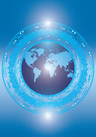 Globe futurism digital technology blue background - abstract art of creative modern illustrations. Vector illustration