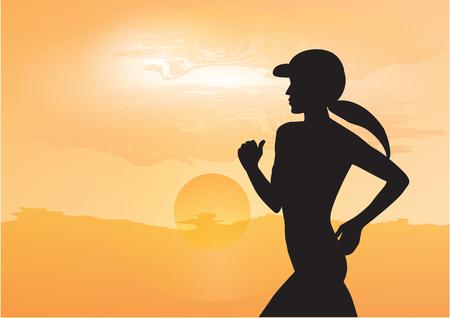 L'athlète féminine qui fait du jogging tôt le matin, la montée du soleil jaune - art, créative, illustration vectorielle moderne. Bannière sportive