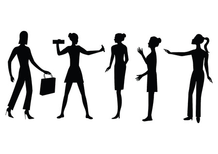 Set of silhouettes of women, modern, characteristic, - isolated on white background - art, creative, modern vector illustration.