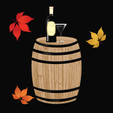 A wooden barrel, a bottle of red wine, a glass, a grape brush - realistic - on a black background - art creative modern vector