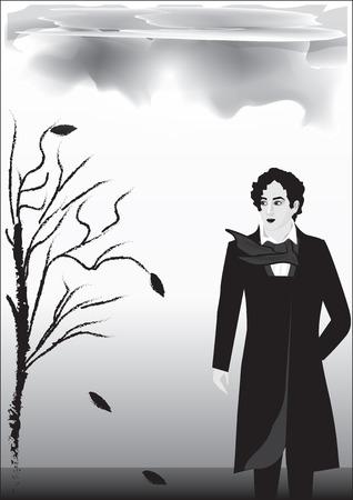 famous writer: Rainy autumn landscape, male, romantic, nineteenth century, Byron, poet, - black on white background - art abstract creative modern vector illustration