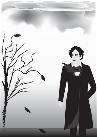 Rainy autumn landscape, male, romantic, nineteenth century, Byron, poet, - black on white background - art abstract creative modern vector illustration