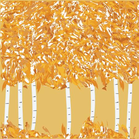 Autumn banner - birch grove, yellow leaves, grass - grunge style - art creative modern illustration, vector.