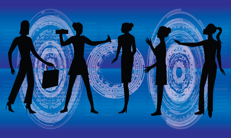 Business woman, computer programmers, network administrator, diagram - symbol of scientific and technical progress - dark silhouettes on a blue background - art, creative, modern vector illustration.