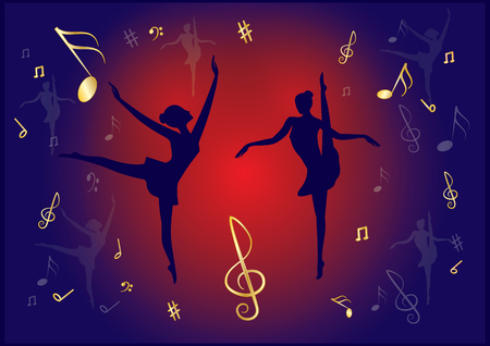 Ballerinas, dark silhouettes on a brightly lit stage, red and dark blue background, musical notes, - the art of creative modern vector illustration. Ilustração