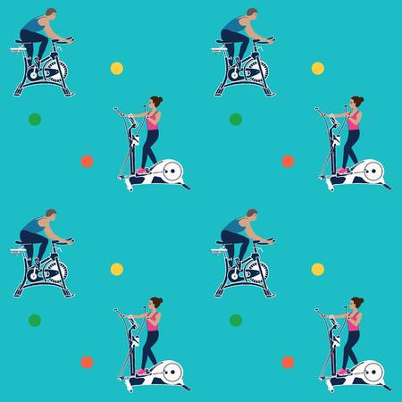 Pattern sporty - man, woman on bikes - on a blue background - art creative illustration vector.