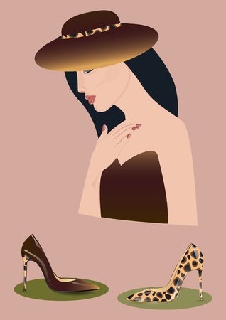 exemplar: Woman in hat in tone under leapard shoes lacquered realistic on high heels - art abstract creative modern illustration, vector