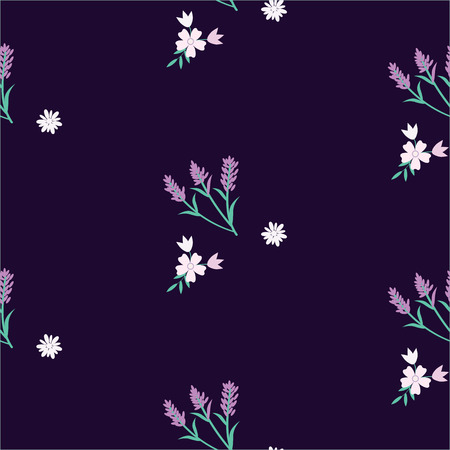 Pattern-lavender and wildflowers - lilac, pink on a dark blue background - abstract creative art vector Illustration