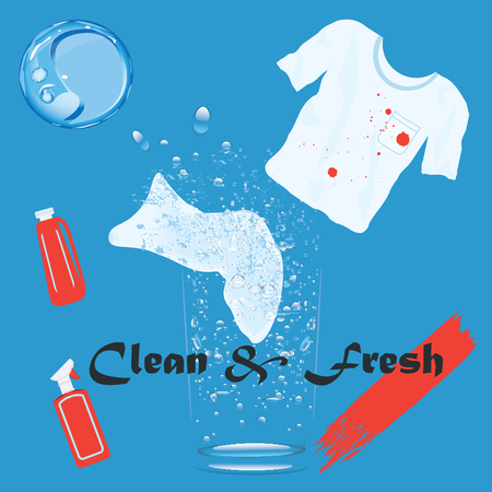 Banner - Cleaners - round original logo, two bottles of detergent, a T-shirt with a dirty spot, - a blue background of soap bubbles - an art creative of the modern vector illustration