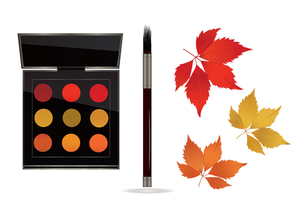 Autumn Banner. Cosmetic set of lipstick, blush, makeup brush, Beautiful autumn leaves, isolated on white background - art creative vector