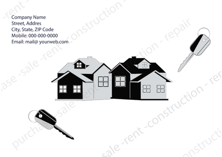 house logo: Banner Companies selling, buying, leasing real estate - cottage, keys requisites for communication - light background - art creative modern illustration vector