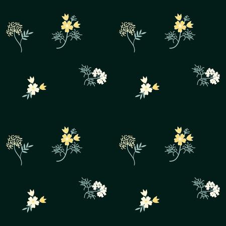 Pattern - wild flowers - light yellow on a dark green background - abstract creative art vector