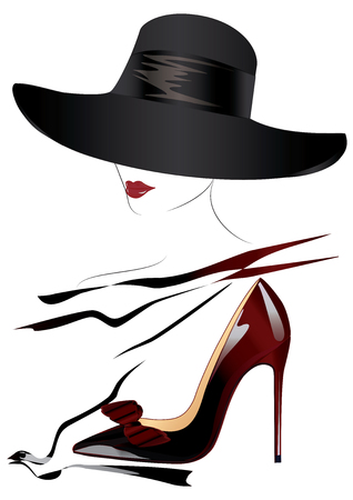 Sketch of a woman's face in a black hat, red lips, realistic shoes with a bow - black-burgundy, high-heeled - isolated over a white background - art creative vector.