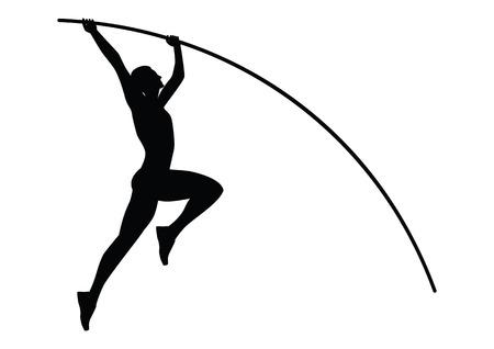 ポール - スケッチ-ブラック ホワイト バック グラウンド - 分離 - 芸術の創造的なモダンなベクトルでジャンプ選手  イラスト・ベクター素材