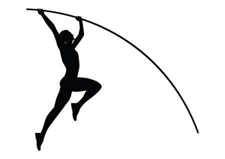 Athlete jumping with a pole - sketch- black on a white background - isolated - art creative modern vector