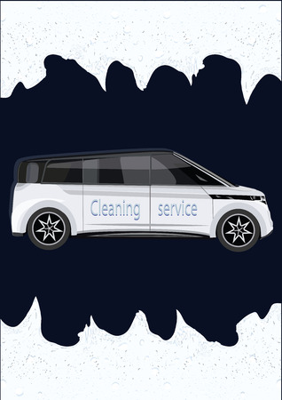 Cleaning services. - Realistic car - soap foam - art-creative modern vector illustration. Poster Car Wash