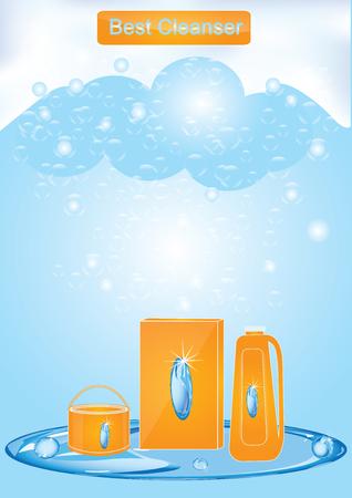 Banner - Cleaning products - set of detergents - blue background soap foam - art creative modern vector illustration Illustration
