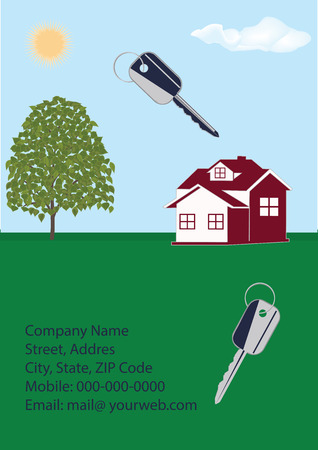 condominium: Banner Companies selling, buying, leasing real estate - cottage, keys, contact details, tree, sky, sun, grass, - art abstract creative modern illustration vector Illustration