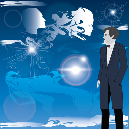 poet: Modern man, philosopher, mystic, poet, against the blue sky, clouds, manifestation of spiritual essences - art abstract, creative, modern vector illustration. Illustration