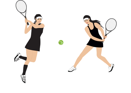 two girls playing tennis - isolated on white background - art creative vector Illustration