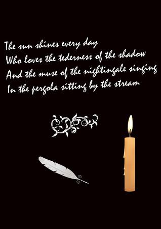 거 위 깃털 - 촛불 -시 사랑에 [NULL]에 대해 - 검은 배경 - 예술 벡터 일러스트 레이 션을 굽기 일러스트