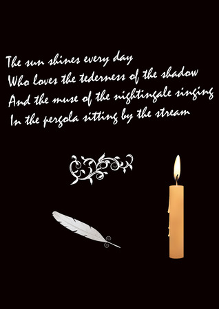 goose feather - burning candle - poems about love - black background - art vector illustration Illustration