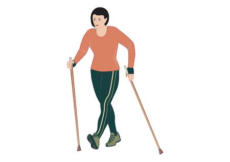 vrouw met nordic walking stokken - geïsoleerd op witte achtergrond - kunst creatieve vectorillustratie