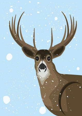Deer - winter blue background - falling snow - art creative vector illustration