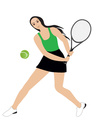 woman playing tennis - isolated on white background - art abstract creative vector Illustration