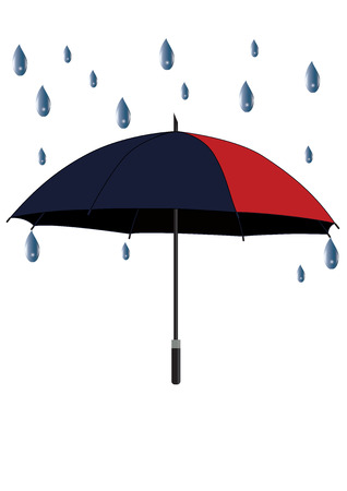 umbrella outdoor - red and blue - raindrops - isolated on white background - art creative vector Illustration