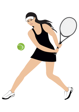 woman - tennis racket - ball - isolated on white background - art creative vector