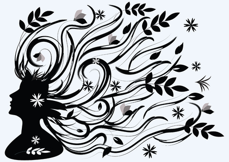 loose hair: Female silhouette in profile with long hair and leaves - black on white background - art vector