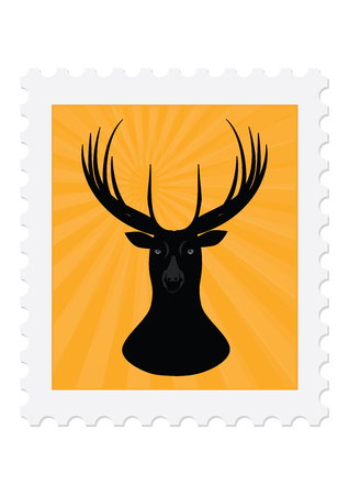 Postage stamp - deer head - sketch - isolated on white background - art creative vector