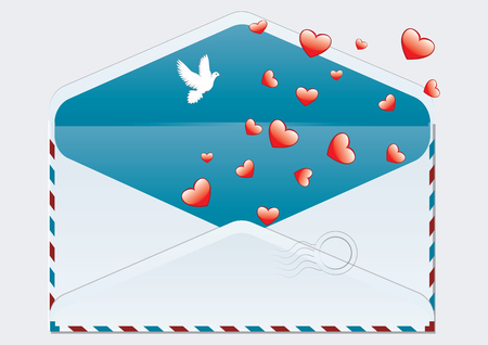 Pigeon and hearts fly out of an open post Air envelope - isolated on white background - art vector