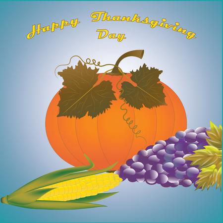 gratitude: Thanksgiving day - pumpkin, autumn leaves, grapes, corn - art vector