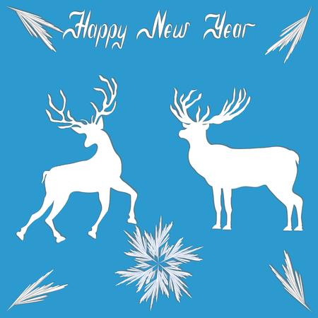Reindeer playful running and elk - original snowflakes - hand-written inscription Happy New Year - art creative vector illustration