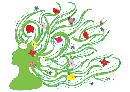 Image of spring - summer - Silhouette of a woman in profile with long hair and bright beautiful flowers - on white background - art vector