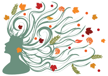 Female image of Autumn - face in profile with long hair with maple leaves - on white background - art vector