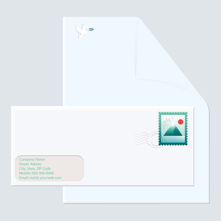 Postal envelope with mark mountain landscape - letterhead with emblem - dove of peace - isolated light background - art vector Çizim