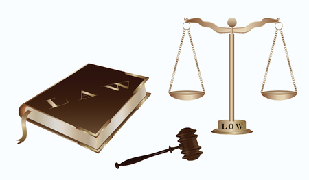 Book of law, hammer of the judge, Libra with cups on the chain, - isolated on white background - art vector