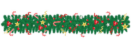 Christmas tree garland decorated with stars, serpentine, lollipops, red berries - isolated on white background - design element. Vector Illustration. Illustration