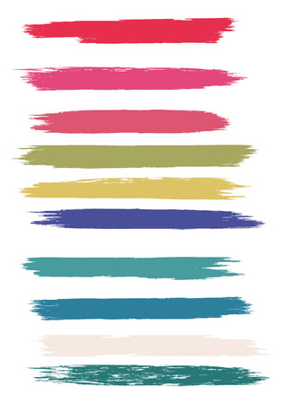 Set - brush strokes in grunge style - multicolored isolated on white background - art abstract vector