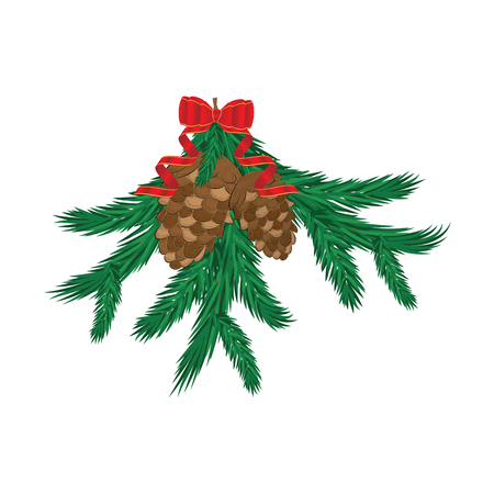 Red New Year`s bow with streamer - branches of Christmas tree, fir cones, - isolated on white - vector art illustration Illustration